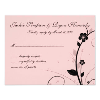 Black & White RSVP Card Floral Wall Pink