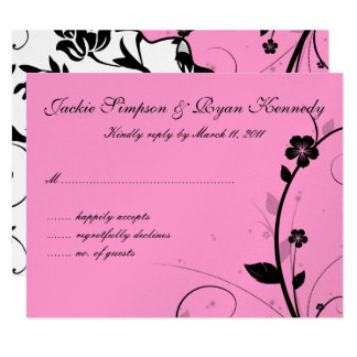 Black & White RSVP Card Floral Wall Pink Silver