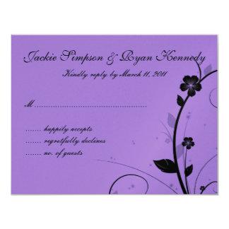 Black & White RSVP Card Floral Wall Purple Silver