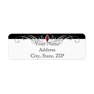 Black White Ruby Accent Anniversary Return Address Return Address Label