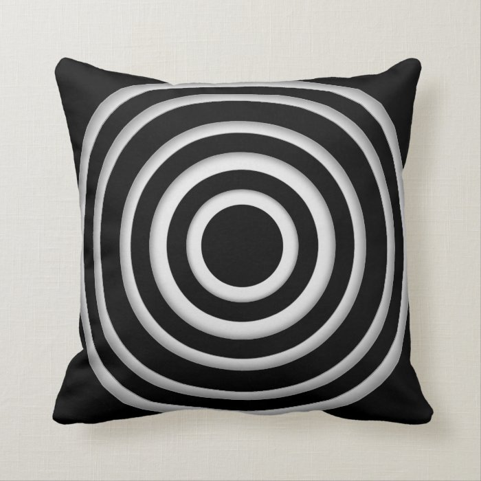 Black White Ruffle Pillow