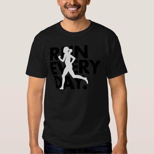 """Black/White """"Run Every Day"""" T-Shirt"""