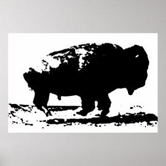 Black & White Running Buffalo Silhouette Pop Art Poster