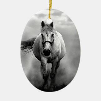 Black White Running Horse Freedom Ceramic Ornament