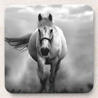 Black White Running Horse Freedom Drink Coaster