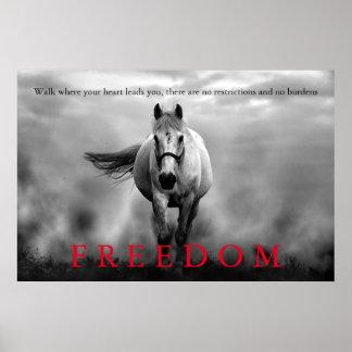 Black White Running Horse Freedom Inspirational Poster