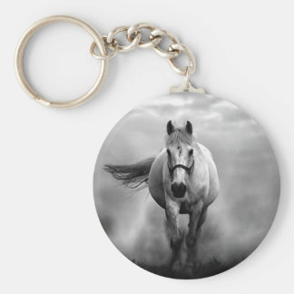 Black White Running Horse Freedom Keychain