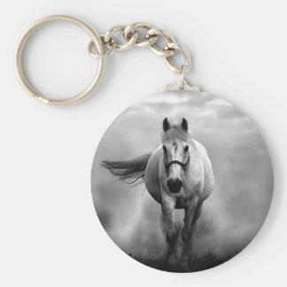 Black White Running Horse Freedom Keychain