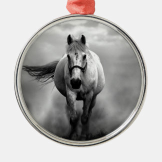 Black White Running Horse Freedom Metal Ornament