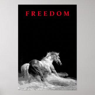 Black white Running Horse Motivational Artwork Poster