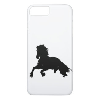 Black White Running Horse Silhouette iPhone 7 Plus Case