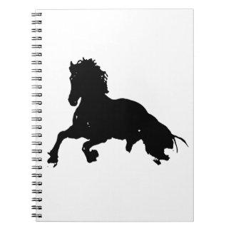 Black White Running Horse Silhouette Spiral Notebook