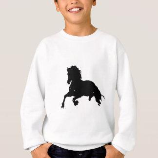 Black White Running Horse Silhouette Sweatshirt