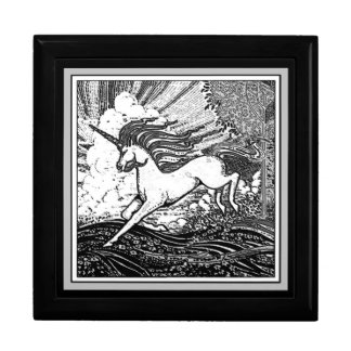 Black & White Running Unicorn Gifts Jewelry Box