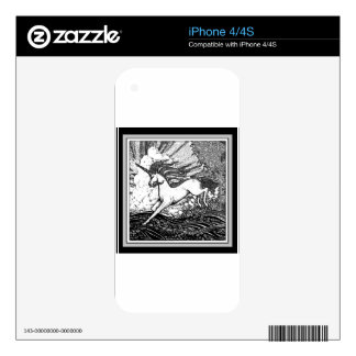 Black & White Running Unicorn Gifts Skins For iPhone 4