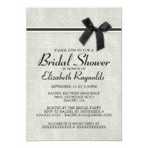 Black White Rustic Burlap Bridal Shower Invitation