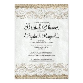 """Black White Rustic Lace Bridal Shower Invitations 5"""" X 7"""" Invitation Card"""