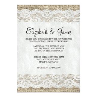 Black & White Rustic Lace Wedding Invitations Invitations