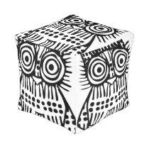 Black White Rustic Owl Vintage Modern Pattern Pouf