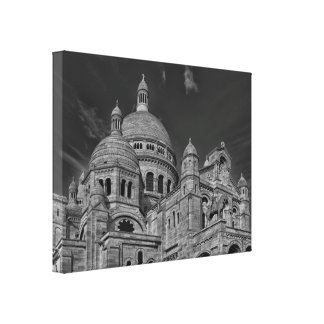 Black White Sacre Coeur Paris Europe Travel Canvas Print