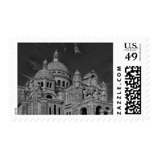 Black White Sacre Coeur Paris Europe Travel Postage