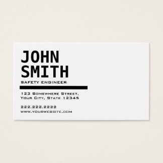 Black & White Safety Engineer Business Card
