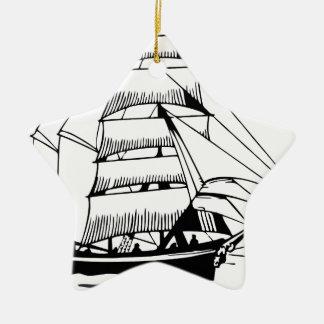 black white sail boat grand ceramic ornament