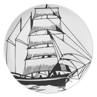 black white sail boat grand melamine plate