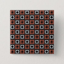 Black,White & Salmon Color Geometric Square Button