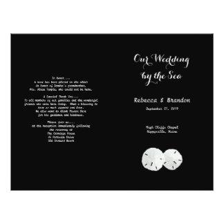 Black White Sand Dollars Folded Wedding Program
