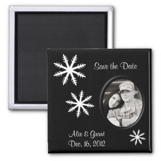 Black & White Save the Date Magnet