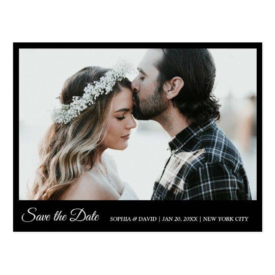 Black & White Save The Date Photo Postcard