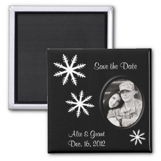 Black & White Save the Date Winter Wedding Magnet