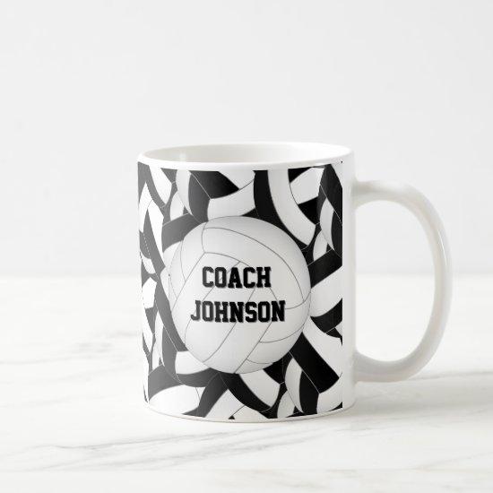 black white school colors volleyball coach gift coffee mug
