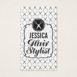 Black White Scissors Hair Stylist Appointment Business Card