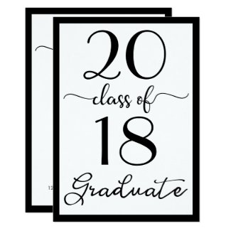Black & White Script Class Of Your Year Graduation Card