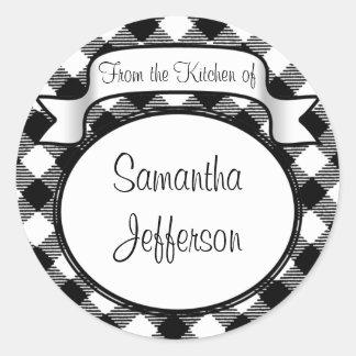 Black+White Script -From the Kitchen Of- Jar/Label Classic Round Sticker