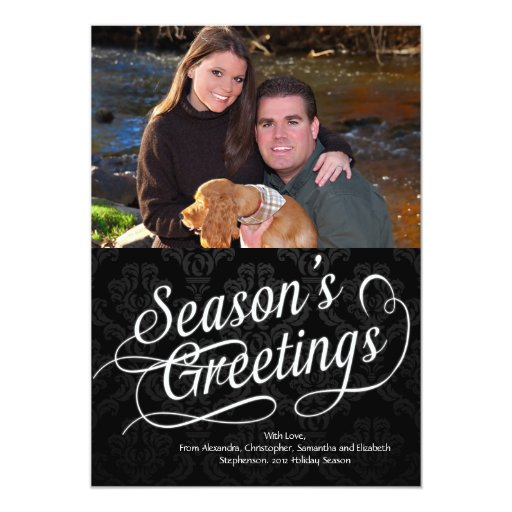 Black/White Script Season's Greetings Photo Card