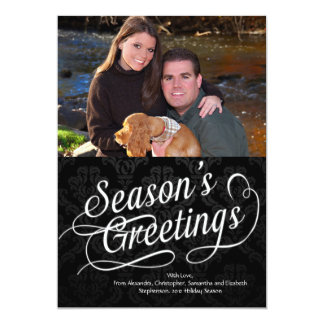 "Black/White Script Season's Greetings Photo Card 5"" X 7"" Invitation Card"