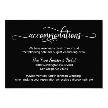 Beach Themed Black White Script Wedding - Accommodations Card