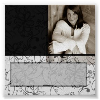 Black & White scroll customizable autograph poster