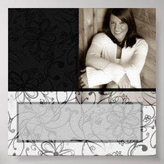 Black & White scroll customizable autograph poster