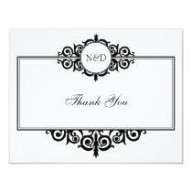 Black white scroll monogram thank you note flat card