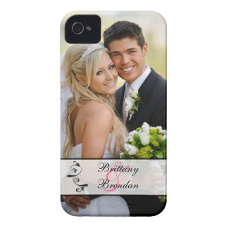 Black, White Scroll Wedding Photo iPhone 4 Case