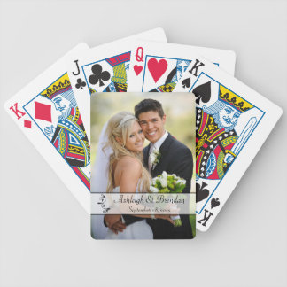 Black, White Scroll Wedding Photo Playing Cards