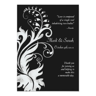 Black & White Scrolling Fern Wedding Program