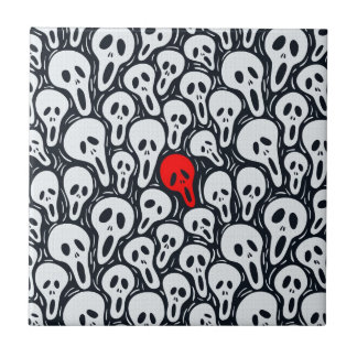 Black White Sculls Pattern Touch Of Red Ceramic Tiles