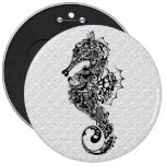 Black & White Seahorse-Tattoo Style 6 Inch Round Button