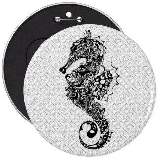 Black & White Seahorse-Tattoo Style Pinback Button