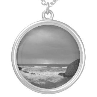 Black White Seal Rock Oregon Round Pendant Necklace